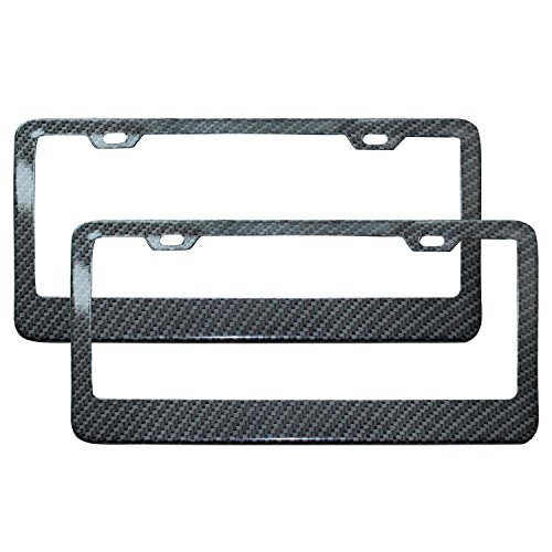 Carbon License Plate Frame (Ibetter Pack of 2 Electroplating Stainless Steel Metal License Plate Frame with 2)