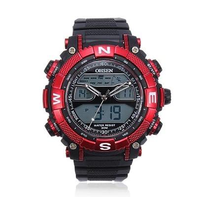 OHSEN Round Fashion Silicone Dual Display Quartz Wrist Watch.