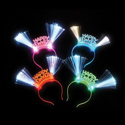 Happy New Year Led Fiber Headband- Box of (80s Hairband Adult Costumes)