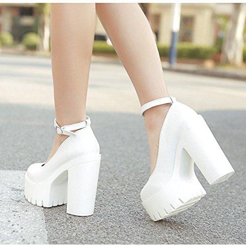 Blanco Tobillo Gruesos plataforma Correa Minetom Tacones Tacones Mujer Moda de Zapatos Tacón Altos Zapatillas zOYpqz