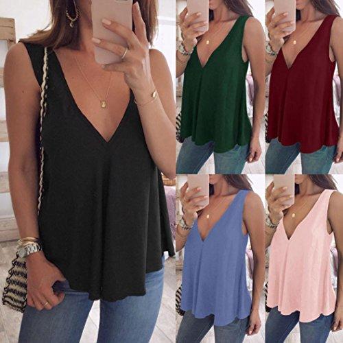 Women Tops, Plus Size Womens V Neck Tank Tops Cami Sleeveless T-Shirt Vest Blouse
