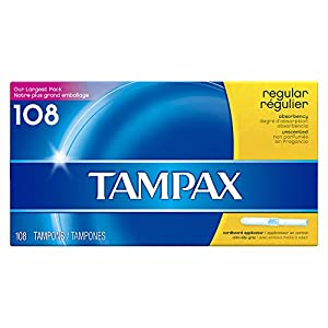Tampax Cardboard Tampons, Regular Absorbency, Unscented, 108 count