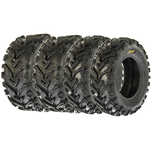 Set of 4 SunF A041 Mud & Trail 24x8-12 Front & 24x10-11 Rear ATV UTV off road Tires, 6 PR, Tubeless (4 Wheeler Tires Atv)