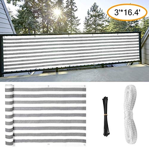 Amogo Fence Privacy Screen, 3ft x16ft Mesh Fence Windscreen for Porch Deck, Outdoor, Backyard, Patio, Balcony to Cover Sun Shade, UV-Proof, Weather-Resistant (Gray-White)