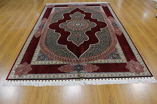 Yuchen 6ftx9ft Kashmiri Persian Handwoven Burgundy Rose Silk Rugs Handmade Red Kashan Design Bedroom Silk Carpet 6 x 9 feet