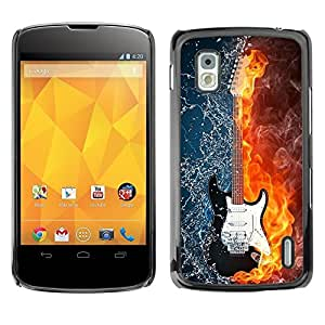 Impact Case Cover with Art Pattern Designs FOR LG Nexus 4 E960 Water and fire guitar Betty shop