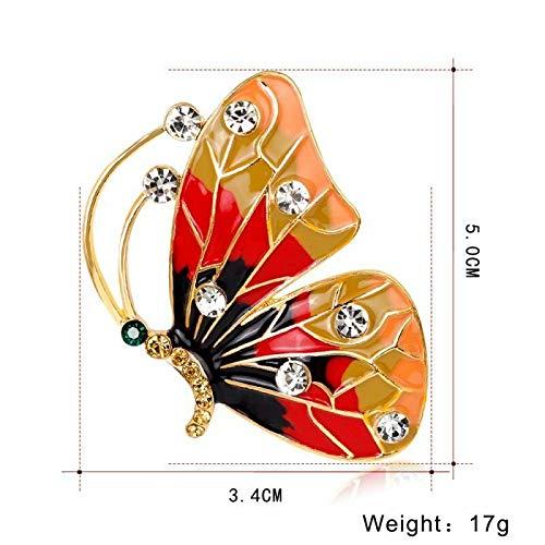 Vintage Crystal Pearl Butterfly Brooch Pin Women Costume Wedding Party Jewelry | Choose Style - Orange+ Blak
