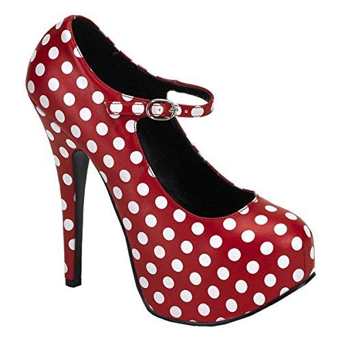 Femmes Chaussures À Pois Mary Jane Noir Rouge Chic Chaussures Rétro 5 3/4 Pouces Talon Rouge