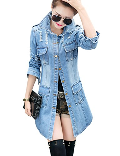 Tanming Women's Casual Lapel Slim Long Sleeve Denim Outercoat Jacket Windbreaker (Medium, Blue)