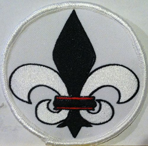 Mardi Gras Fleur De Lis Embroidery Iron-On Patch Biker Emblem Black & White Version