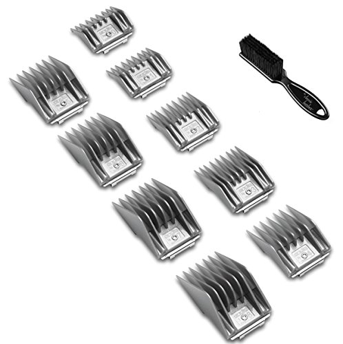 Andis #12995 9 Piece Comb Set for BG, BGC-2, BGR+2, BGRC, BGRV, BGCL, MBG2, Oster 76 - Bundle Includes Classic Barber Blade Brush