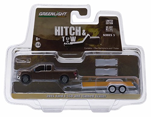 2015 FORD F-150 & FLATBED TRAILER Hitch & Tow Series 5 2015 Greenlight Collectibles Truck & Trailer Limited Edition 1:64 Scale Die-Cast Vehicle Set ... by Greenlight