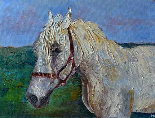 White Horse Painting Portrait on CANVAS 12x16 Pony Figure Figurative Colorful Original Impasto Textured Genuine Hand Painted Oil Fine art work