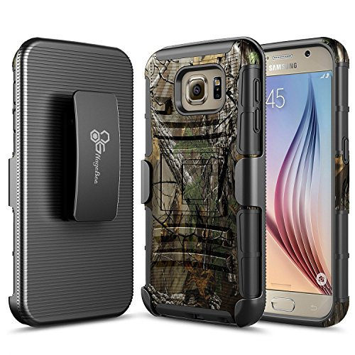 S6 Case, Galaxy S6 Case, NageBee [Heavy Duty] Armor Shock Proof Dual Layer [Swivel Belt Clip] Holster with [Kickstand] Combo Rugged Case for Samsung Galaxy S6 - Camouflage