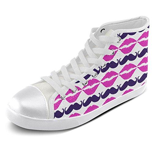 Artsadd Custom Hot Pink Hipster Bigote Y Labios High Top Zapatos De Lona Para Hombres (model002)