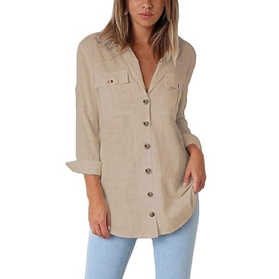 Camisas Mujer 2018 Casual,Color sólido Botón Elegantes Blusas de Juveniles