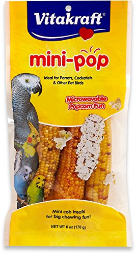 Vitakraft Mini Pop - Microwavable Mini Corn Cob Treats For All Pet Birds, 6.0 Ounce Bag