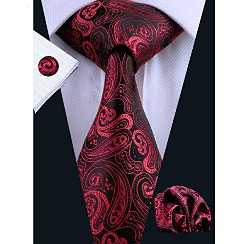 Hi-Tie Paisley Red Silk Tie Classic (Silk Paisley Tie)