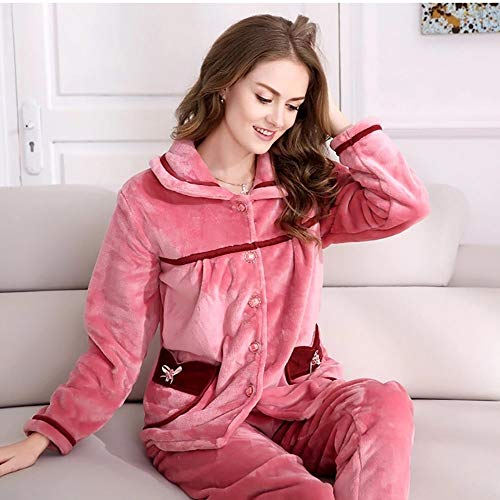 Hogar Larga Casual Cómodo Cardigan Pijamas tamaño Toalla Espesar Servicio De Franela Sexy Damas Suave Caliente L Manga Conjunto La Felpa Solapa tPtHr6Uaqw