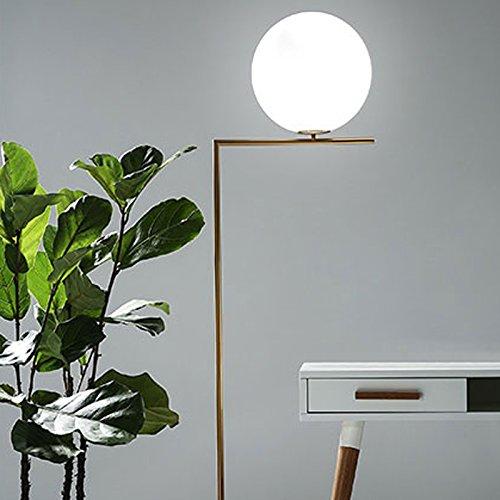 OAKLIGHTING Modern Glass Globe Ball Floor Lamp Light Gold Metal Living Room Bedroom Stand (Glass Modern Globe)