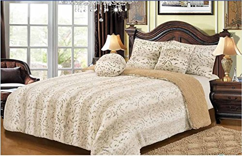 Bella Safari Faux Fur Plush Throw Blanket Comforter, White, 6 Pieces Set (Faux Fur Comforter Set)