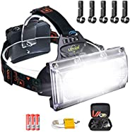LETOUR LED Headlamp COB High Bright Waterproof Work Headlight,8000 Lumen USB Cable Rechargeable Headlamps,120°