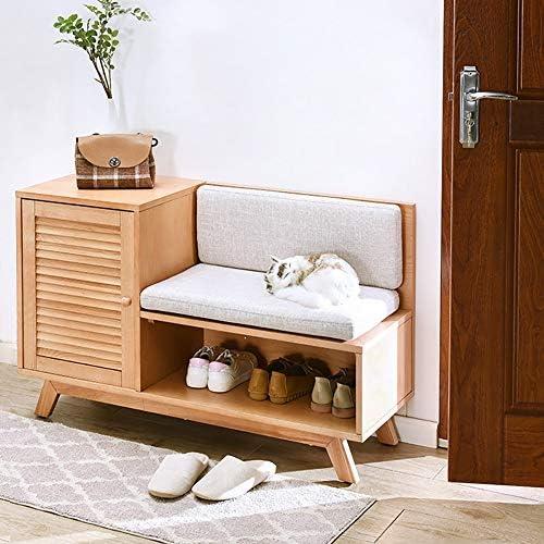 玄関 収納付き ベンチ リビングルームの入り口のロビーに適し回廊木製の靴の靴クッション保管ステーション 省スペース おしゃれ (Color : C, Size : 110X68.5cm)