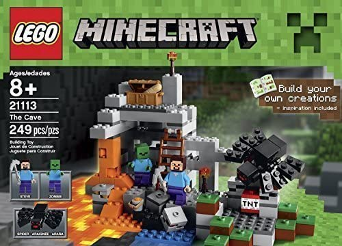 LEGO Buy ONE Get 5 Free Minecraft Toys Premium Educational Sets Creationary Game with Minifigures for 8 Year olds Childrens Cave Box