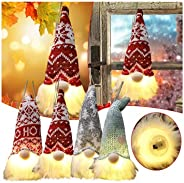 Christmas Glowing Gnomes Doll, Cute Christmas Doll Decoration, with LED Light Plush Elf Table Ornaments, Scand