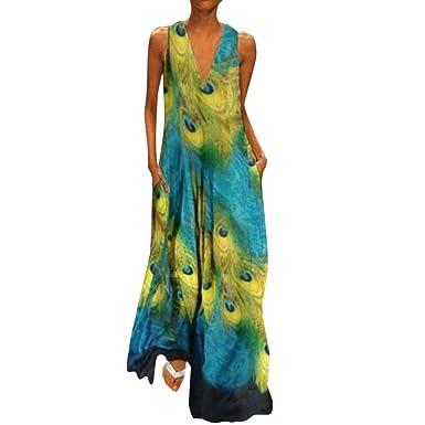 Vestido Vintage De Mujer Sasstaids Vestido Suelto con Cuello En V ...