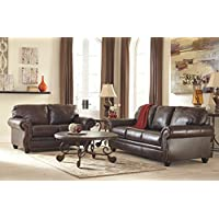 Ashley Bristan Collection 8220239 Queen Sofa Sleeper with Leather Upholstery Stitched Detailing Nail Head Accents Rolled Arms and Traditional Style in