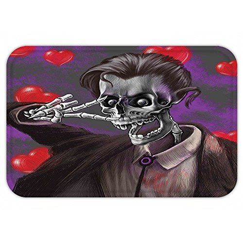 Exquisite Corpse Costume (Kisscase Custom Door MatSkull Decor Romantic Skeleton Handsome Corpse Groom with Tuxedo Heartin the Backdrop Black and Red)