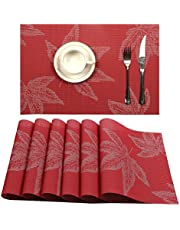 U'Artlines Placemat, Crossweave Woven Vinyl Non-Slip Insulation Placemat Washable Table Mats Set