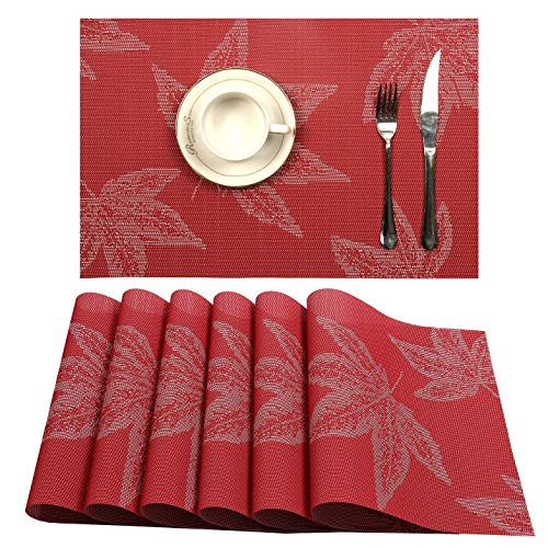 (U'Artlines Placemat, Crossweave Woven Vinyl Non-Slip Insulation Placemat Washable Table Mats Set (6pcs placemats, Maple Leaf Red))
