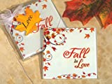 Stylish Fall In Love glass coasters
