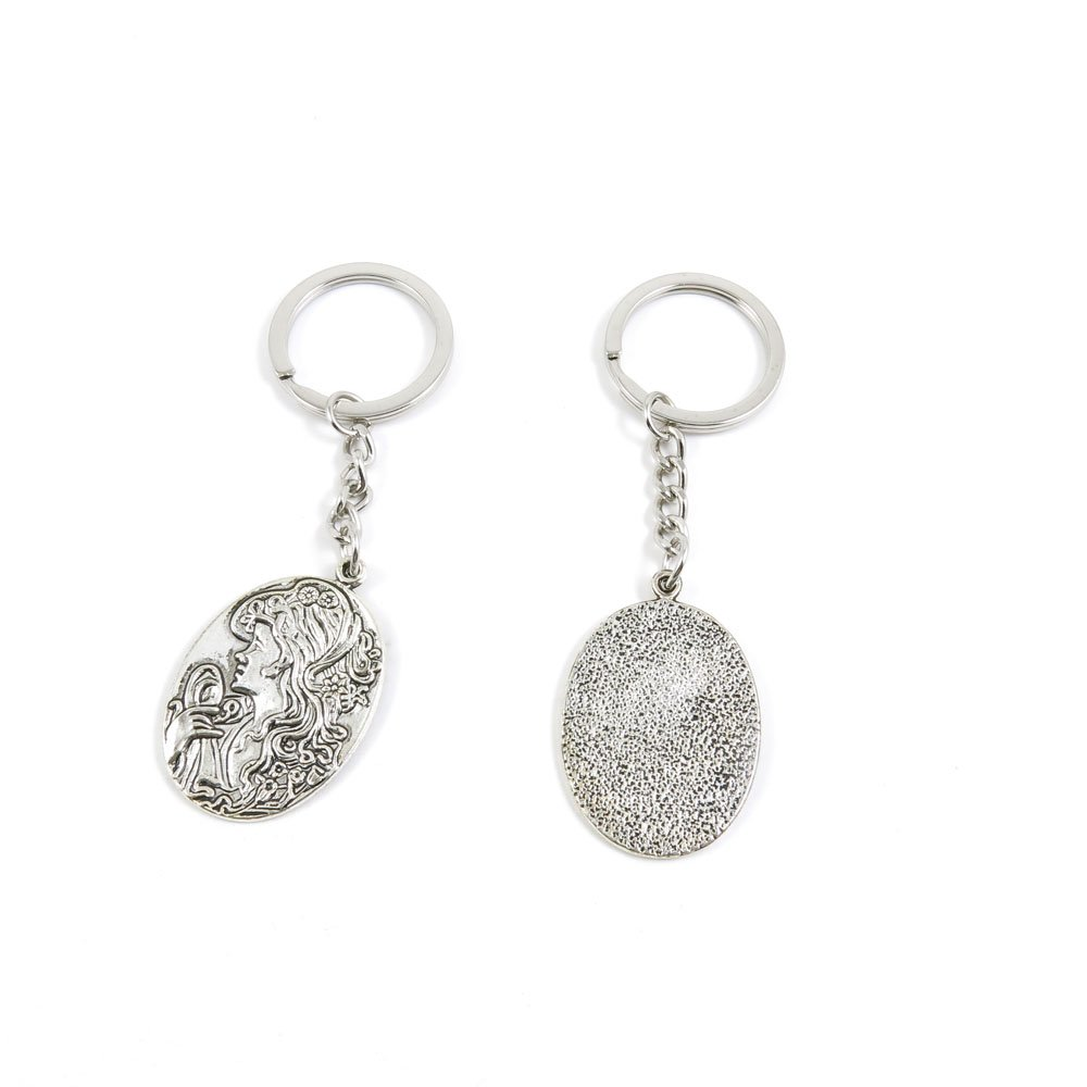 100 Pieces Keychain Door Car Key Chain Tags Keyring Ring Chain Keychain Supplies Antique Silver Tone Wholesale Bulk Lots G0LX5 Oval Queen Sign