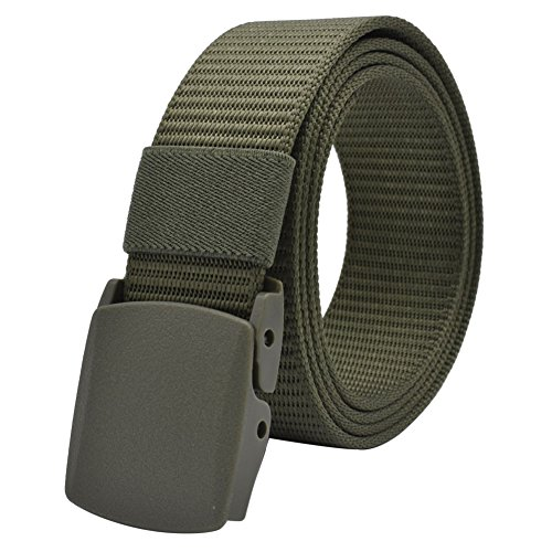 Web belt, Lehosek Mens Tactical Woven Belts with No Hole, Easy Adjustable, Nylon Material, 1.5 Inch Wide Belt, Green