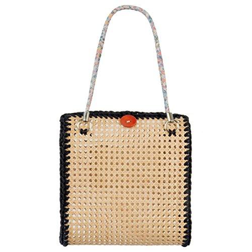 Italienische Damentasche aus Vienna Straw, Damen, Borsa Grande (Dunkelblau)