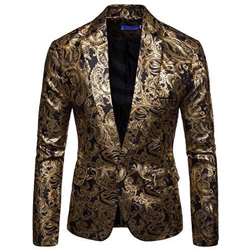 GEEK LIGHTING Men's Slim Fit Floral One Button Formal Suit Blazer Coat Jacket(Black,L)
