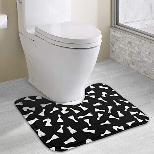 Bennett11 White Chess U-Shaped Toilet Floor Rug Non-Slip Toilet Carpets Bathroom Carpet 19.2″x15.7″