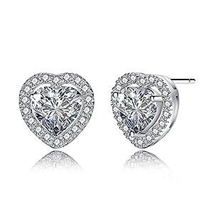 SILYHEART S925 Sterling Silver Love Heart Wedding Cubic Zircon Stud Earrings, Bridesmaid Jewelry Gifts