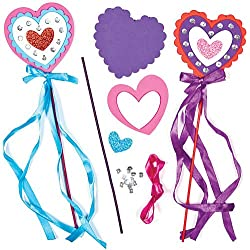 Foam Heart Magic Wand Kits for Children to Make Decorate for Valentine's Day (Pack of 4)