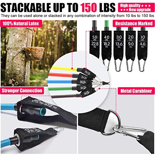Legs Ankle Straps for Resistance Training Physical Therapy Handles Youlebao Resistance Bands Set Exercise Bands with Door Anchor Waterproof Carry Bag Home Workouts