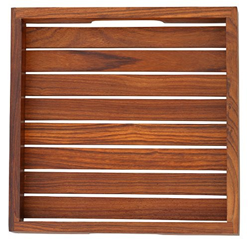 PRIME DEALS TODAY – BEST TRAY – 10 Inch Handmade Wooden Square Brown Service Tray with Handles for Your Kitchen, Dining Room, Bar, Tea, Coffee Lounge …