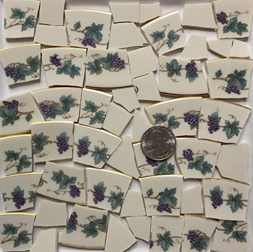 Broken China Mosaic Tile Art Supply for Crafts ~ Gold Rim Purple Grapes & Green Leaf Tiles (T#A163) ()