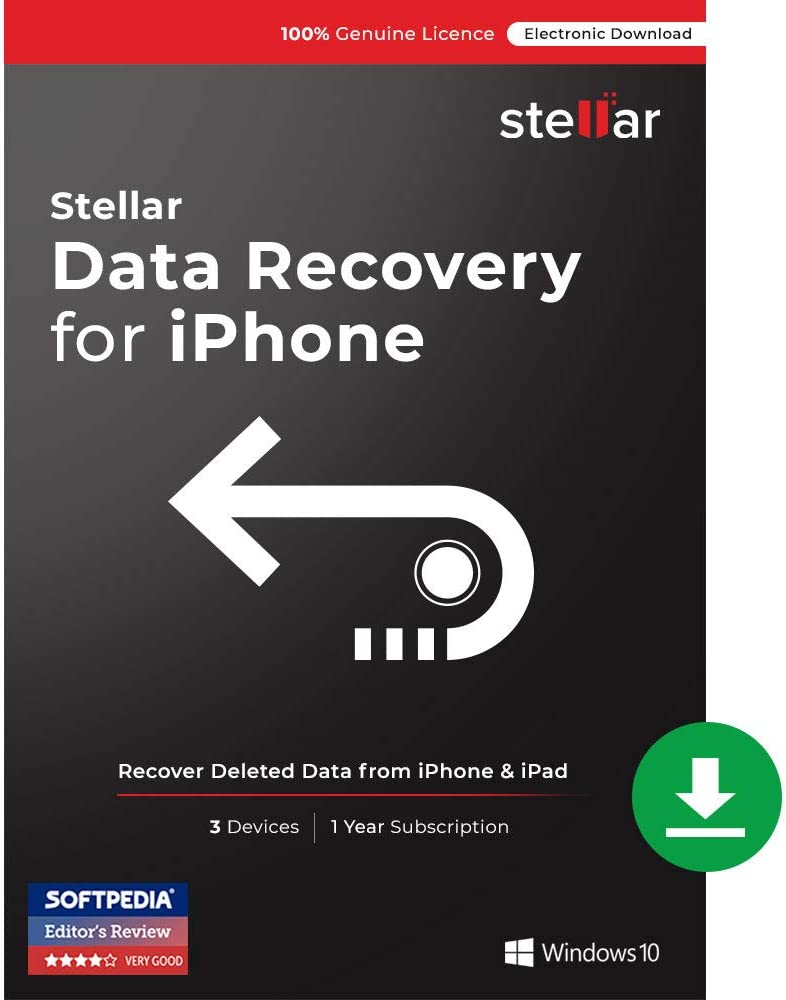 Stellar Data Recovery for iPhone v5.0.0.6   3 Devices   1 Year   [PC Download]