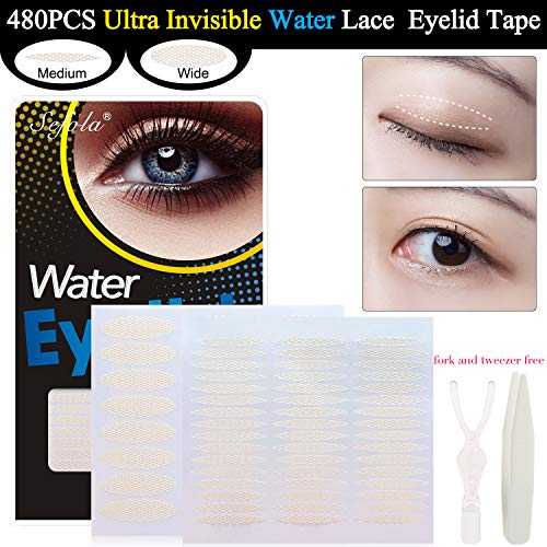 480 PCS Water Eyelid Tape Ultra Invisible Beauty Double Eyelid Tape Stickers Instant Eye Lift Without Surgery (240PCS Medium+240PCS Wide)