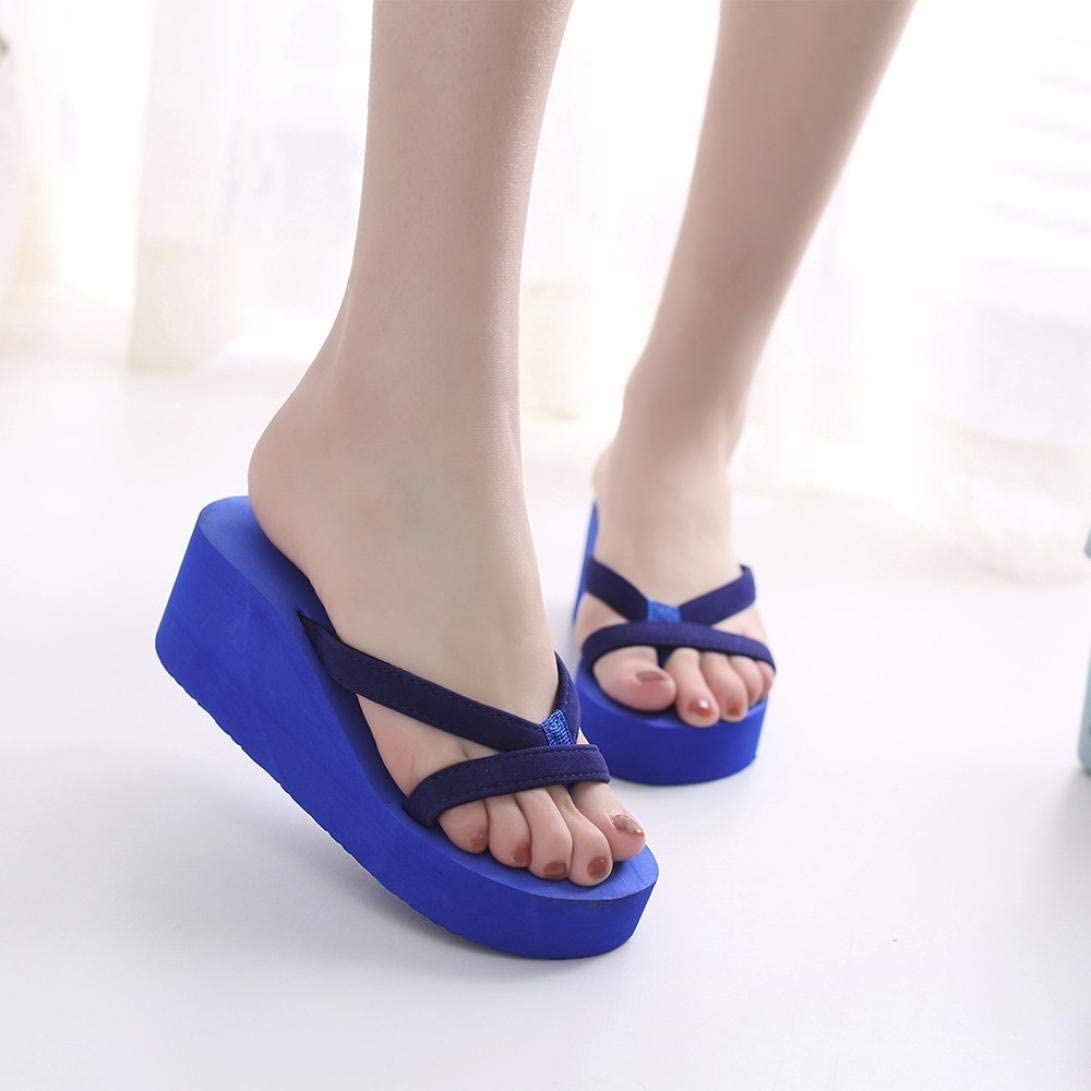 Women Fashion Slippers Soft High Heel Shoes Thong Flip Flops Beach Wedge Heels