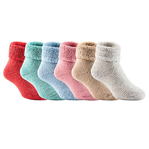 Lian LifeStyle Girl's 6 Pairs Extra Thick Wool Boot Socks Crew Plain 6 Color LK01 (2Y-5Y) (Sweater Wool Thick)