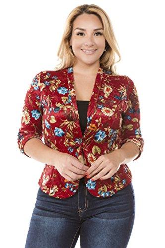 Bubble B Women's Plus Floral Print Blazer Button Front Jacket Red Velvet 3X